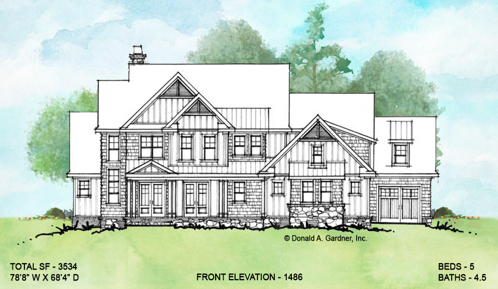Front elevation of conceptual house plan 1486.