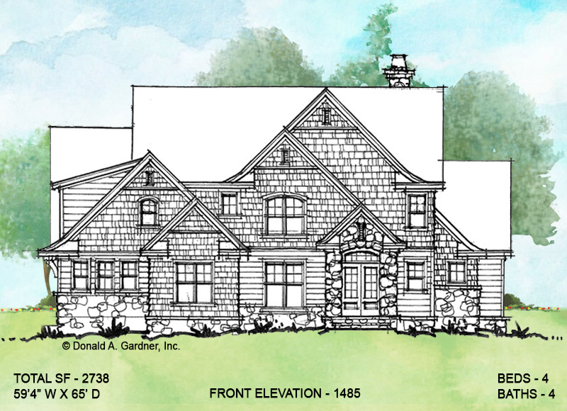 Front elevation of conceptual house plan 1485.