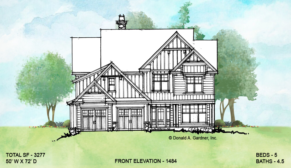 Front elevation of conceptual house plan 1484.