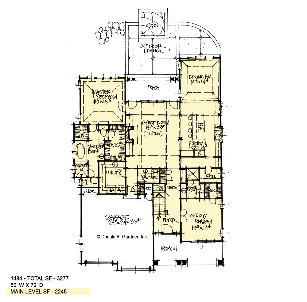 First floor of conceptual house plan 1484.
