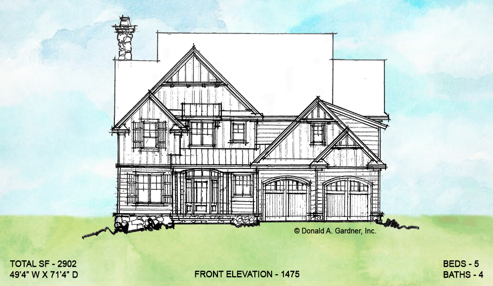 Front elevation of conceptual house plan 1475.