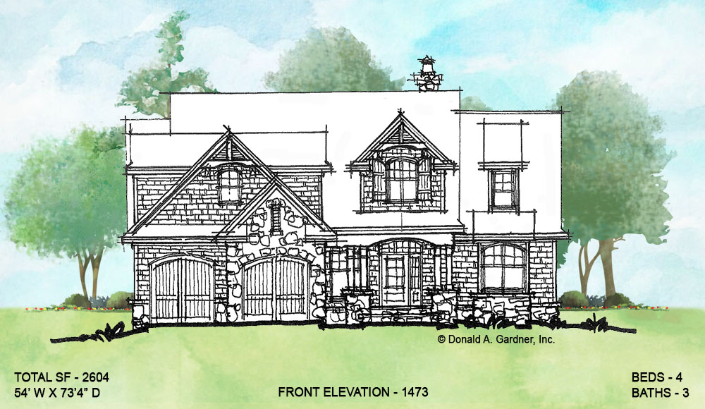 Front elevation of conceptual house plan 1473.