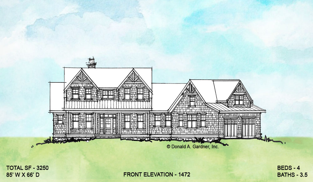 Front elevation of conceptual house plan 1472.