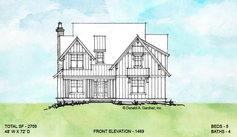 Front elevation of conceptual house plan 1469.
