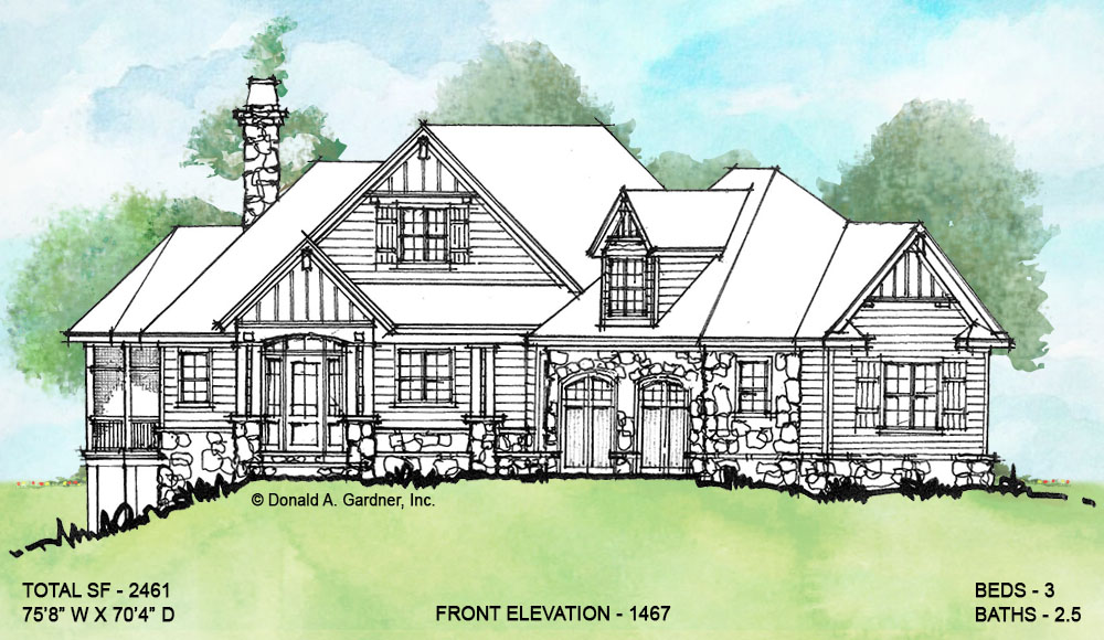 Front elevation of conceptual house plan 1467.