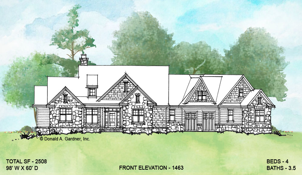 Front elevation of conceptual house plan 1463.