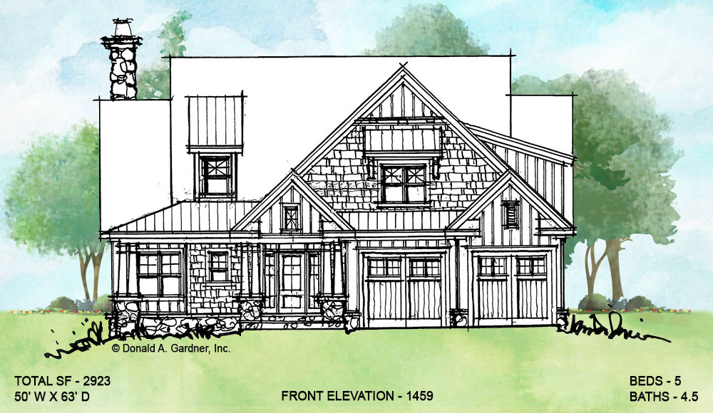 Front elevation of conceptual house plan 1459.