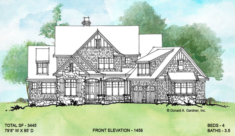 Front elevation of conceptual house plan 1456.