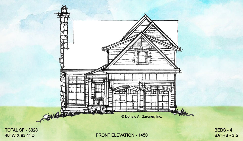 Front elevation of conceptual house plan 1450.