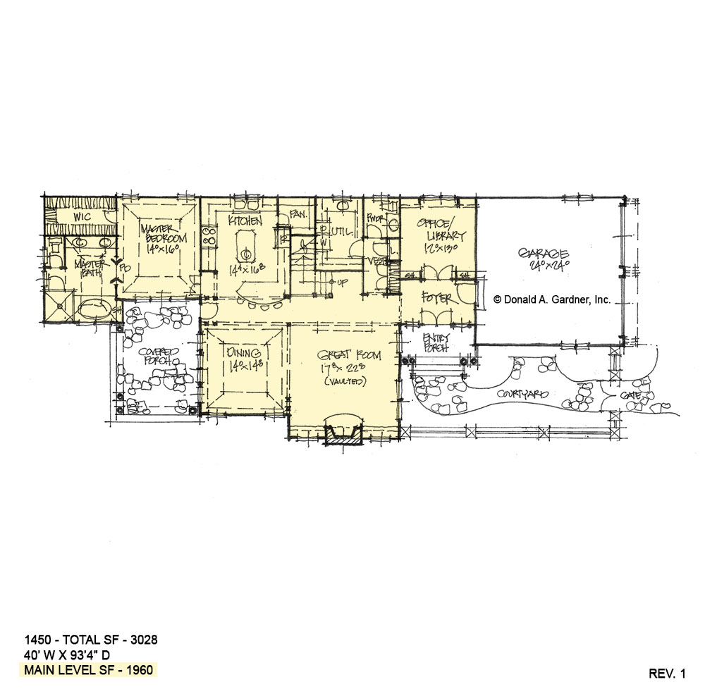 First floor of conceptual house plan 1450.