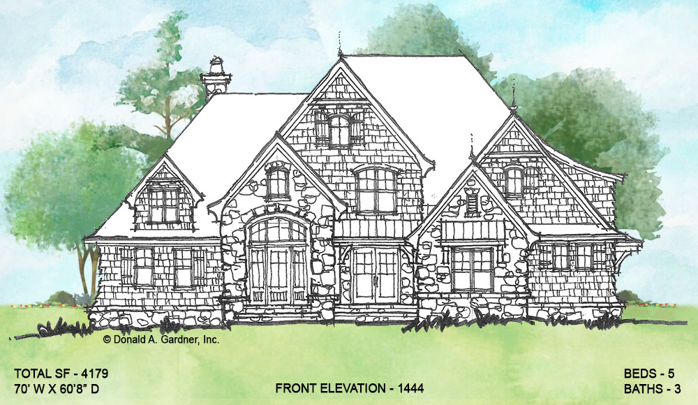 Front elevation of conceptual house plan 1444.
