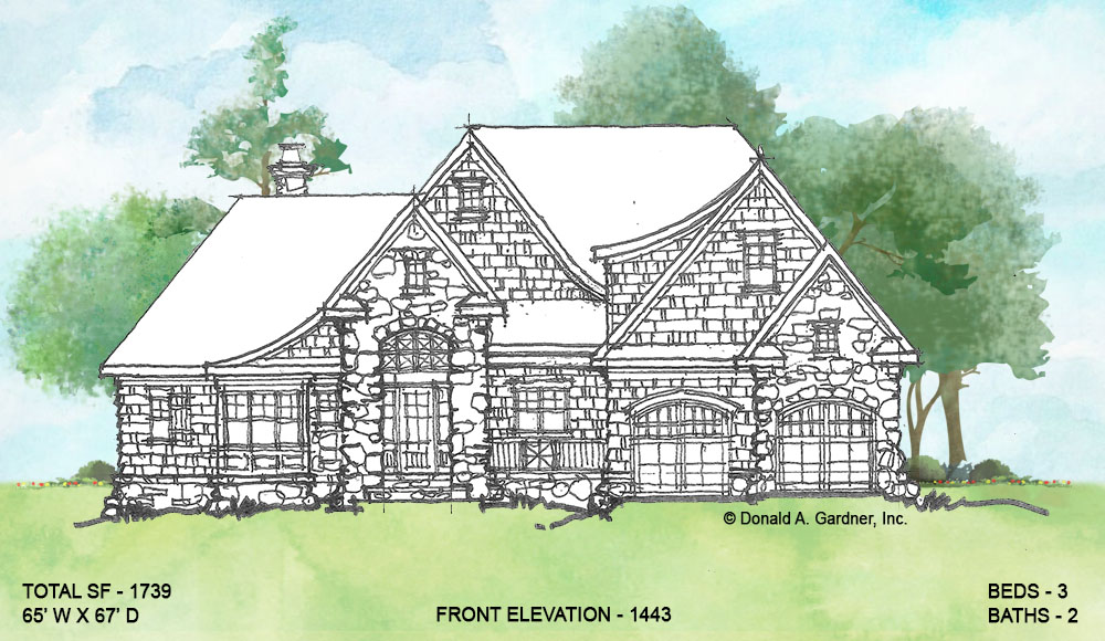 Front elevation of conceptual house plan 1443.