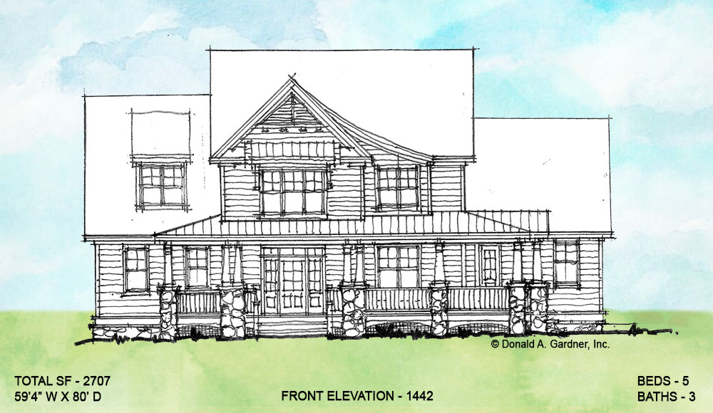 Front elevation of conceptual house plan 1442.