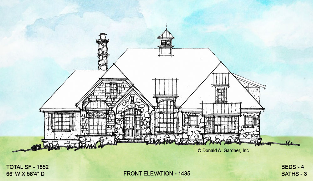Front elevation of conceptual house plan 1435.