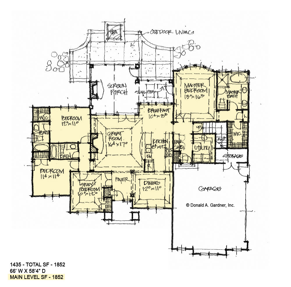 First floor of conceptual house plan 1435.