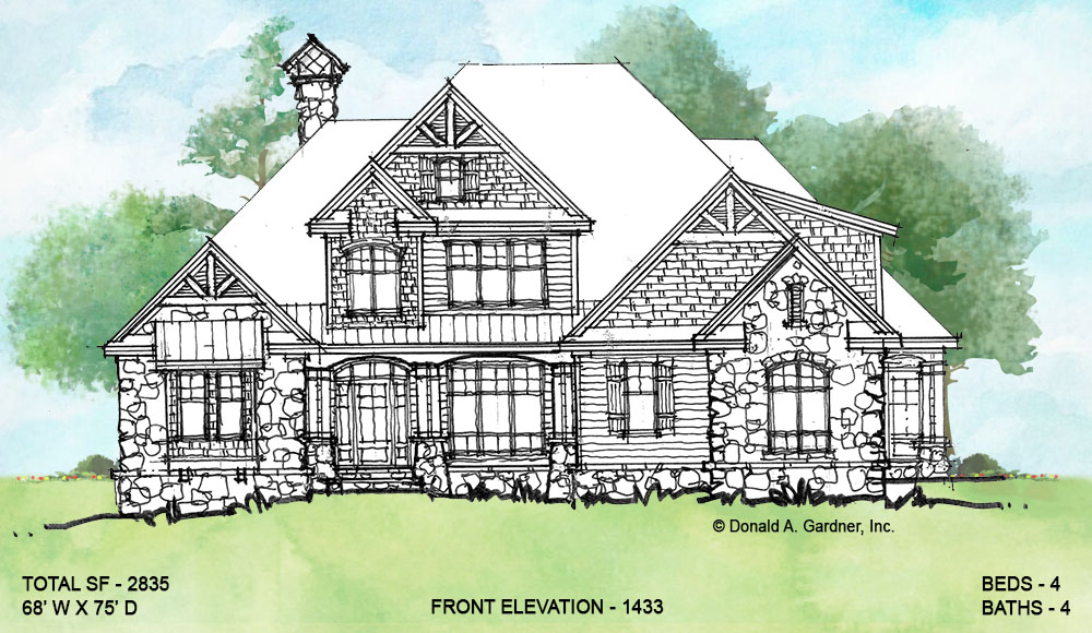 Front elevation of conceptual house plan 1433.