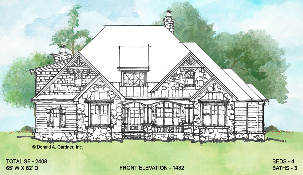 Front elevation of conceptual house plan 1432.