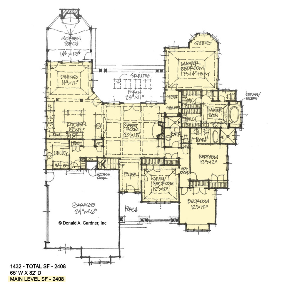 First floor of conceptual house plan 1432.