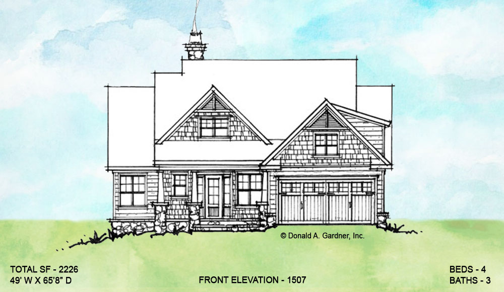 Front elevation of conceptual house plan 1507.