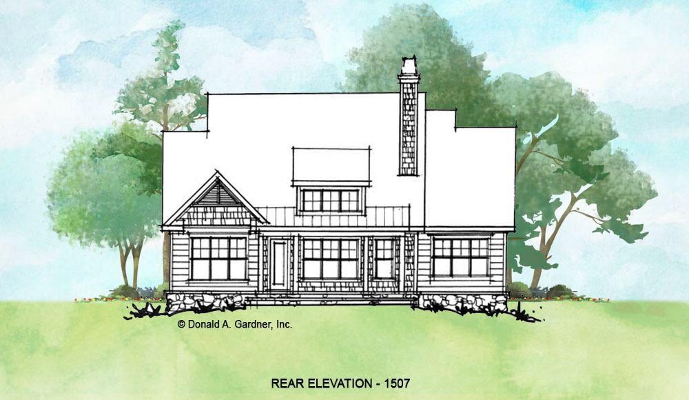 Rear elevation of conceptual house plan 1507.