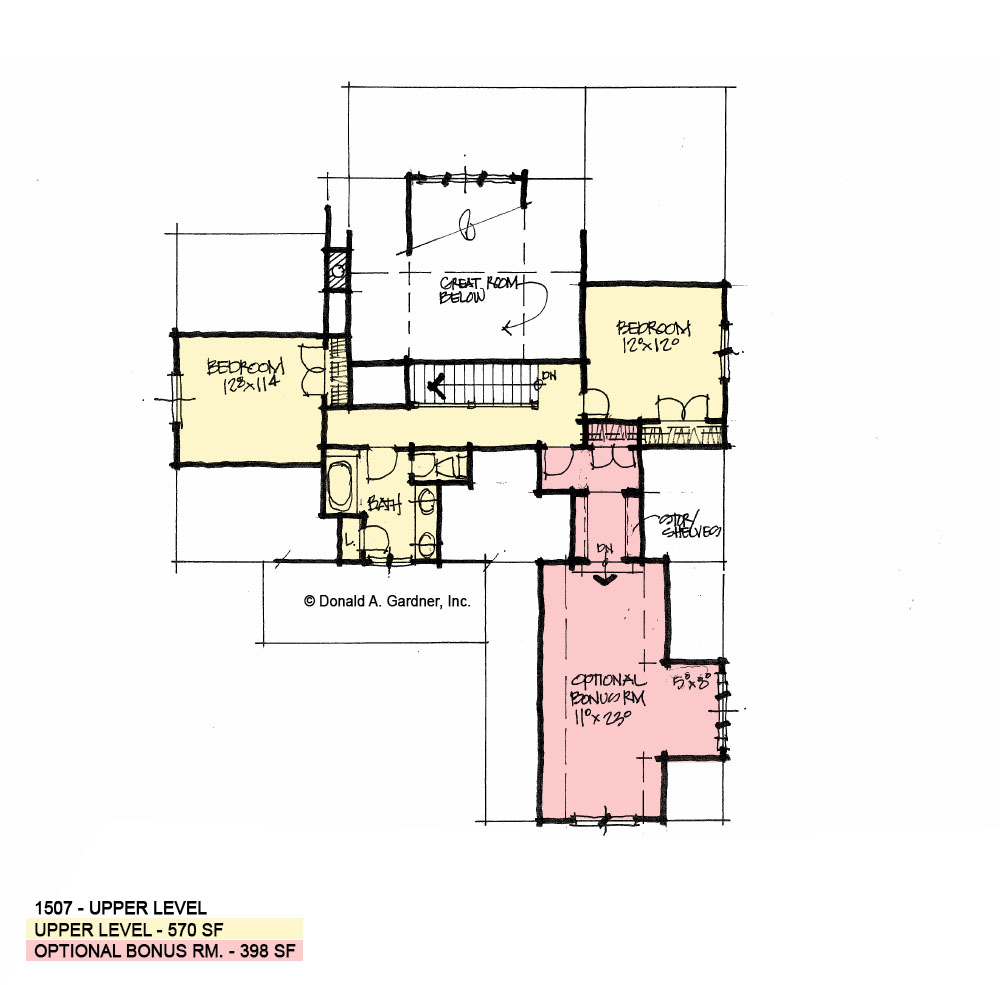 Second floor of conceptual house plan 1507.