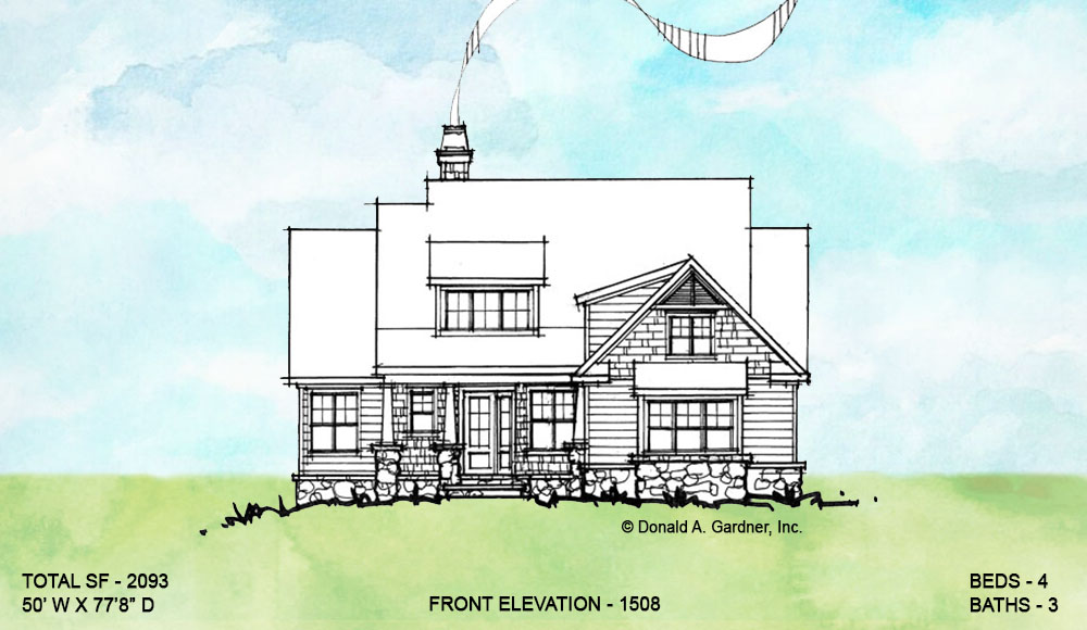 Front elevation of conceptual house plan 1508