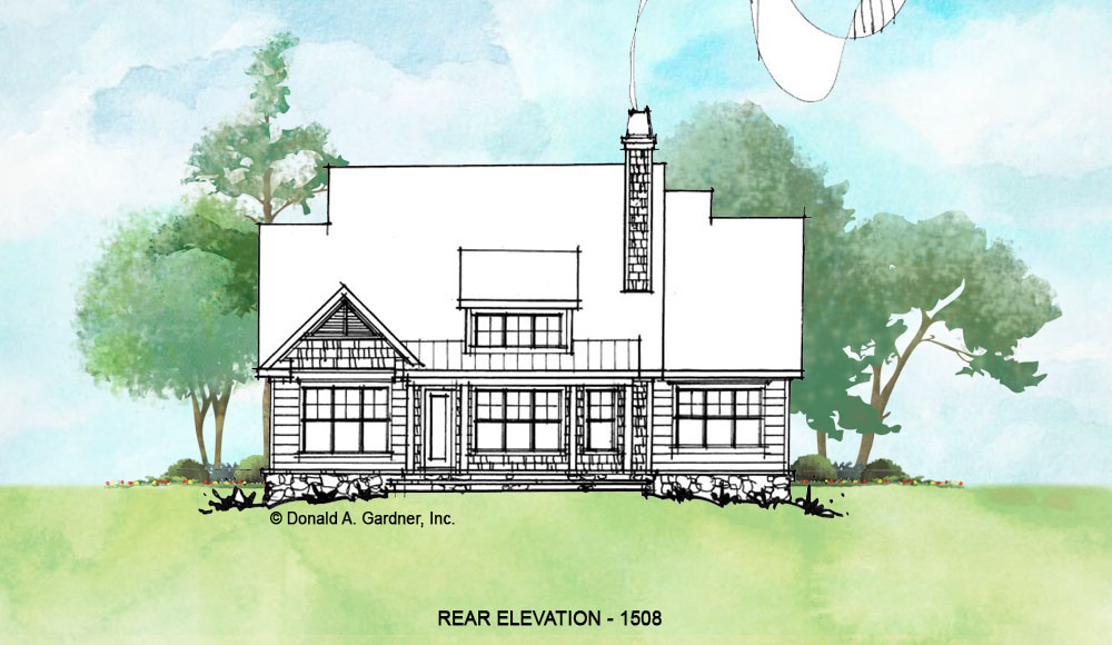 Rear elevation of conceptual house plan 1508