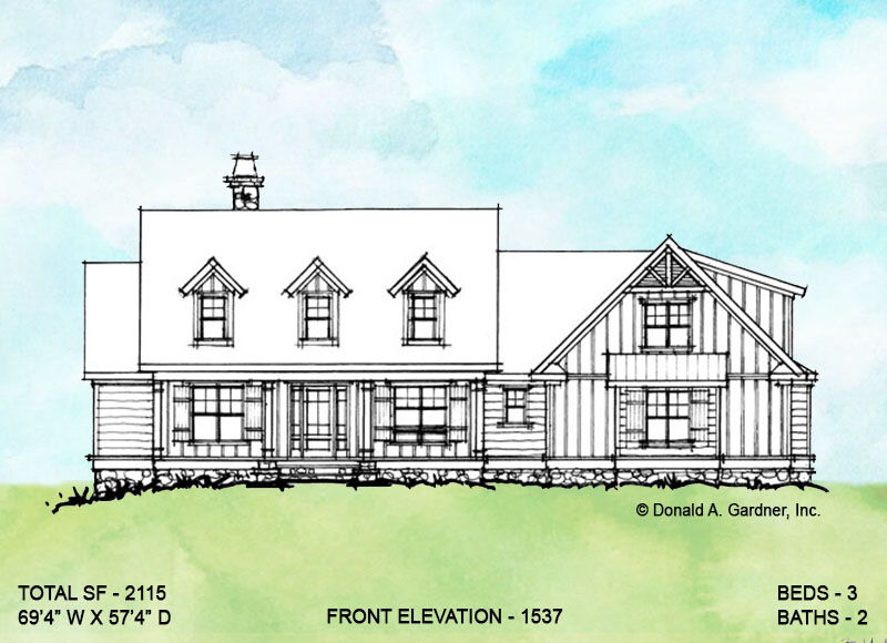 Front elevation option 2 for coneptual house plan 1537