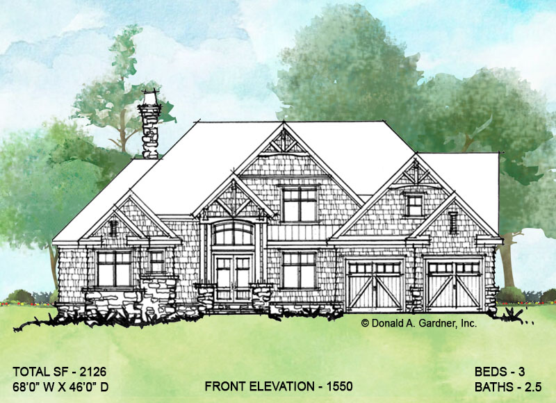 Front elevation of conceptual house plan 1550
