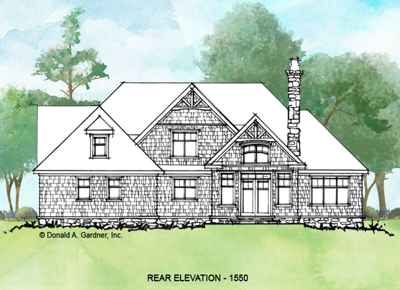 Rear elevation of conceptual house plan 1550