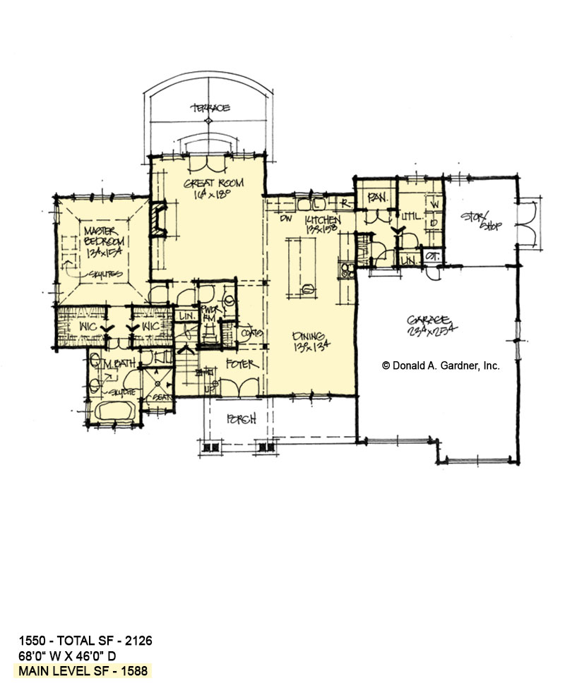 First floor of conceptual house plan 1550