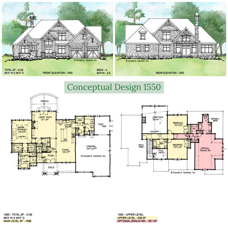 Overview of conceptual house plan 1550