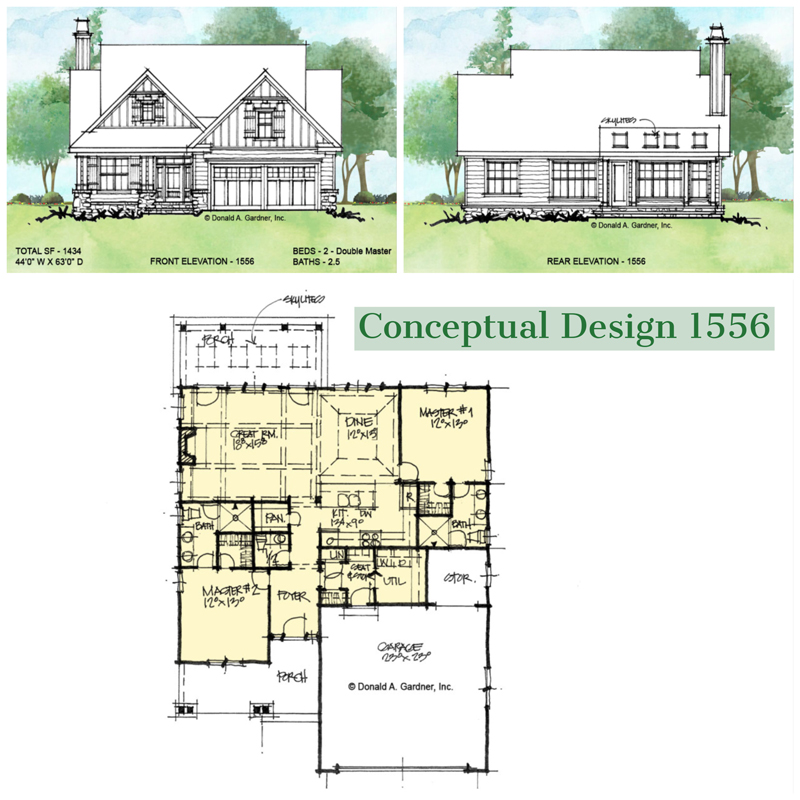 Overview of conceptual house plan 1556