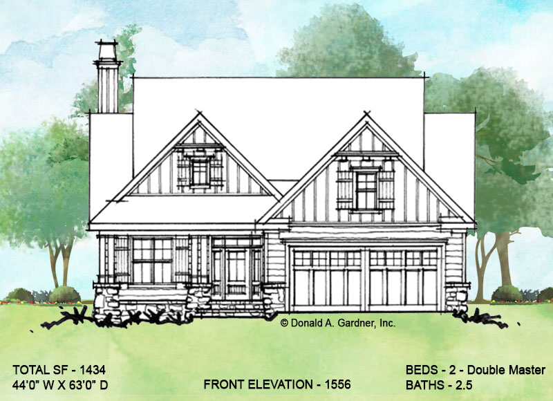Front elevation of conceptual house plan 1556