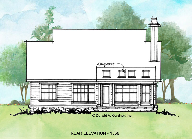 Rear elevation of conceptual house plan 1556