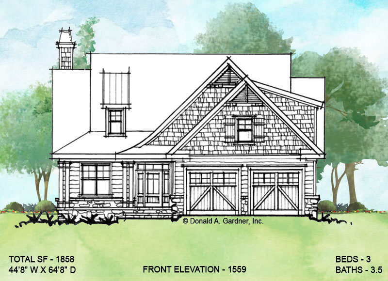 Front elevation of conceptual house plan 1559