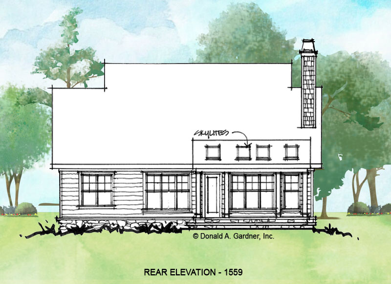 Rear elevation of conceptual house plan 1559