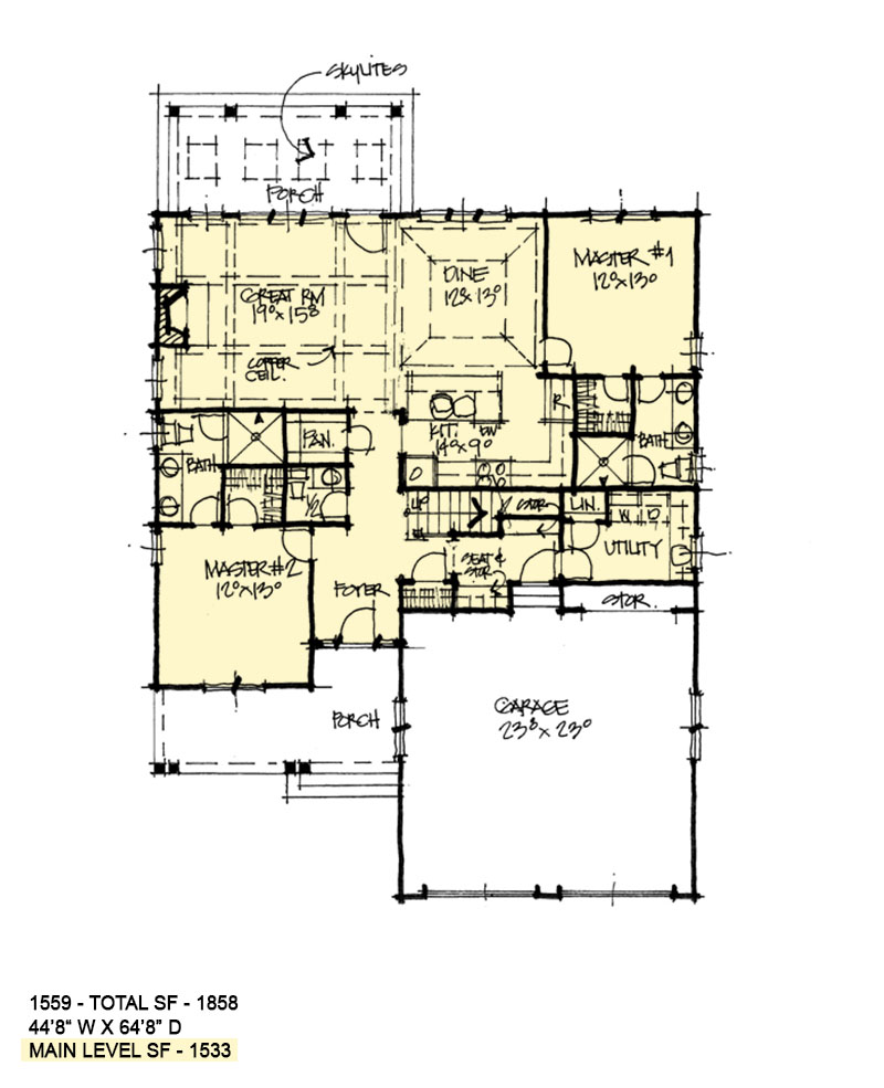 First floor of conceptual house plan 1559