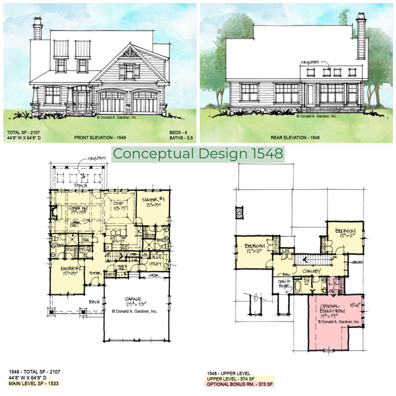 Overview of conceptual house plan 1548