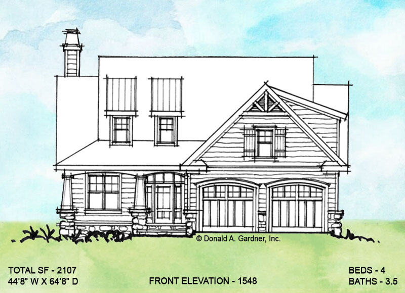 Front elevation of conceptual house plan 1548