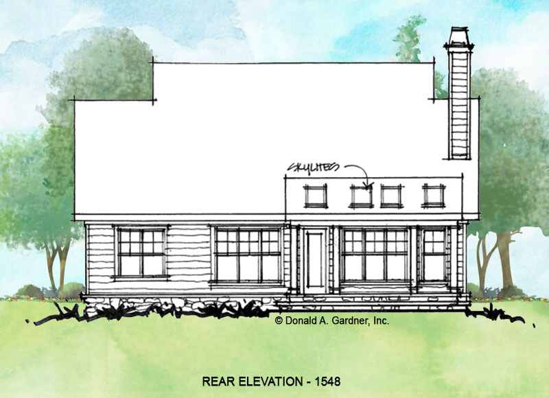 Rear elevation of conceptual house plan 1548