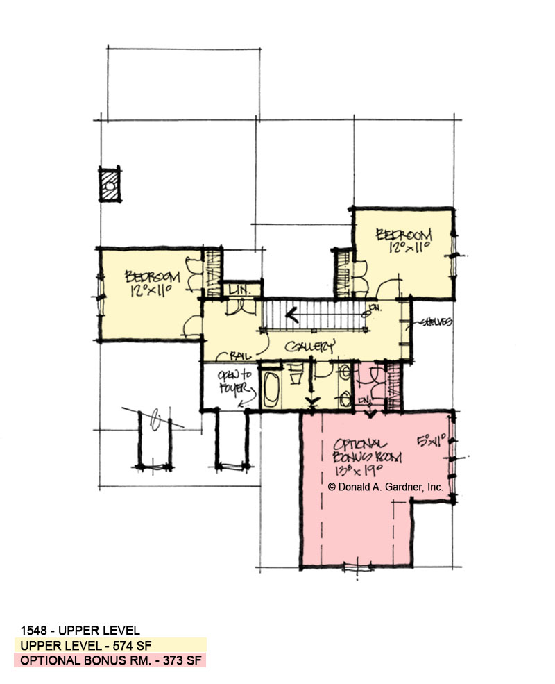 Second floor of conceptual house plan 1548