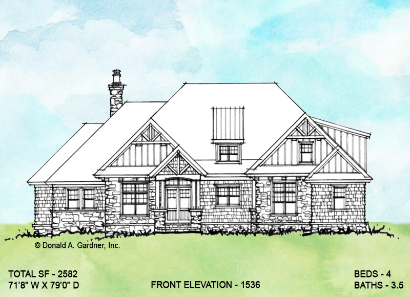 Front elevation of conceptual house plan 1536