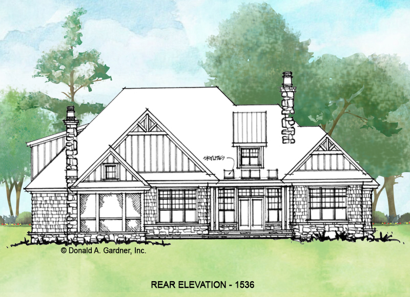 Rear elevation of conceptual house plan 1536