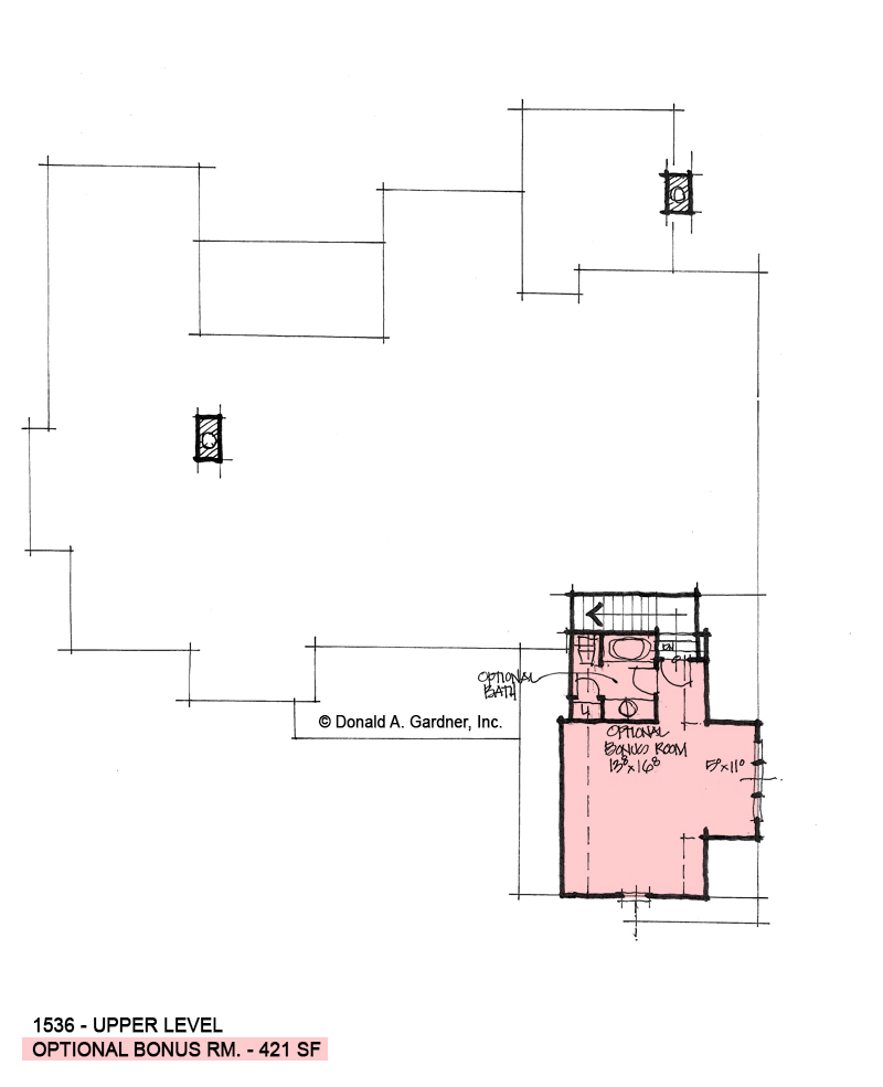 Bonus room of conceptual house plan 1536