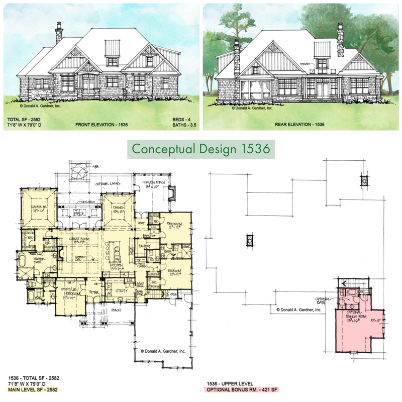 Overview of conceptual house plan 1536