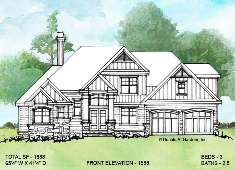 Front exterior of conceptual house plan 1555