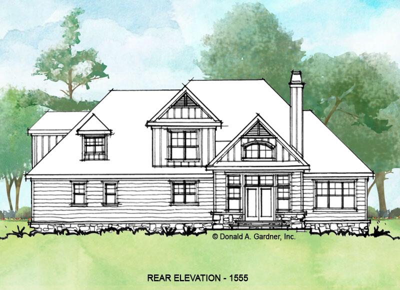 Rear exterior of conceptual house plan 1555