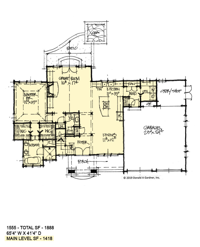 First floor of conceptual house plan 1555