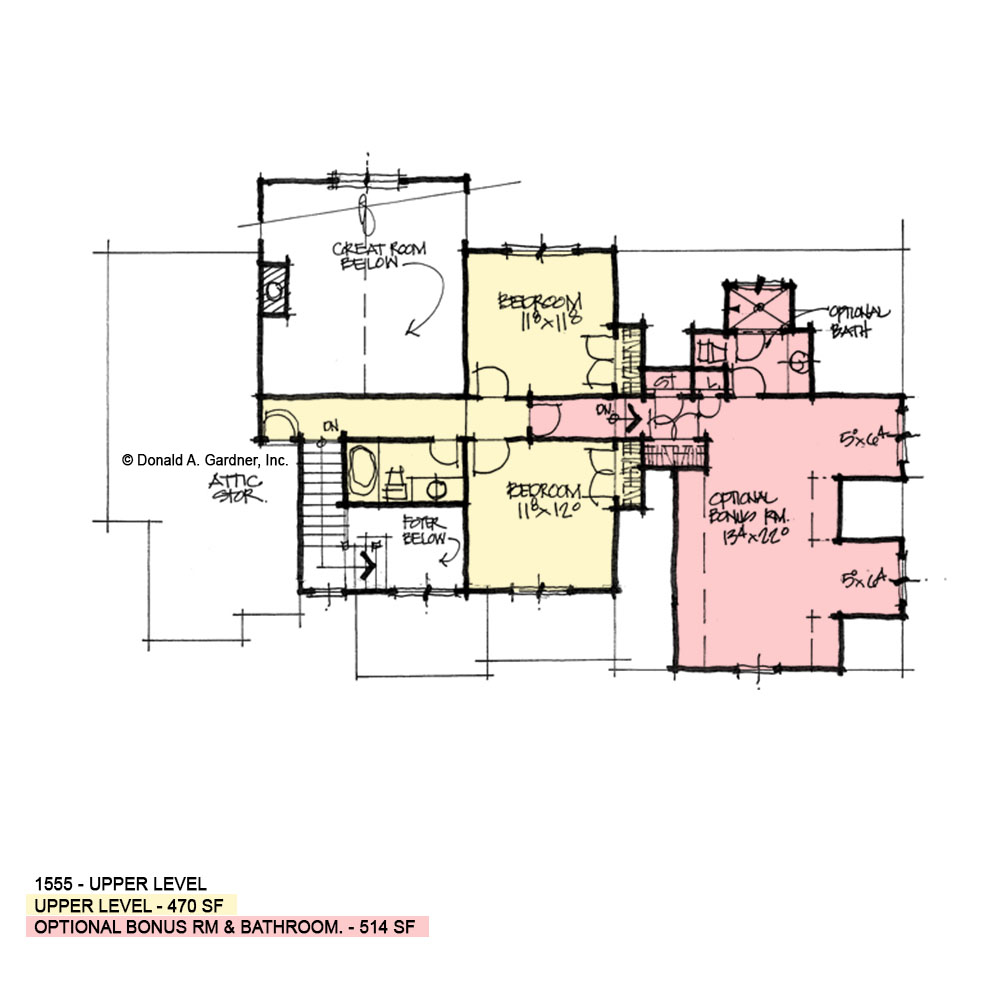Second floor of conceptual house plan 1555
